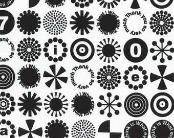 HALF YARD - First of Infinity Collection 31232-10 Thank You So Very Much -Black on White - Geometric  Lecien Japanese