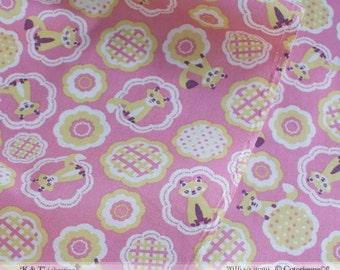 HALF YARD - Foxes on PINK - Tanuki -  K and T Cotorienne Yuwa - Japanese Import Fabric 112532 B