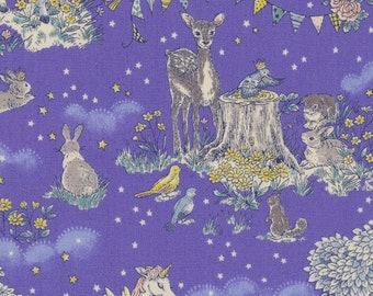 HALF YARD - Kokka - In The Forest on Blue Purple - 16060 1A - Cotton Oxford - Deer, Rabit, Unicorn, Birds, Flowers, Trees