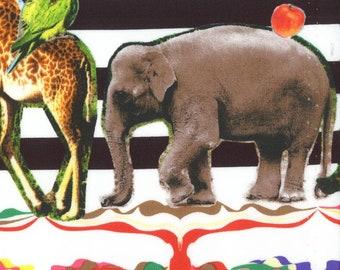 HALF YARD Kokka - Animal Parade on Black and White Stripes - 3034-1A -Photo Realistic Zebra Elephant Giraffe - Cotton Sheeting- Japan Import