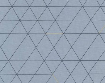 HALF YARD Lecien - Line to Face - Diamonds and Triangles - Blue w/ Metallic - 41101-70 - Cotton - Japanese