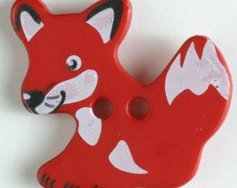 FOX Button - RED Colorway 25 mm - Made in Germany - Washable and Dry Cleanable 330876