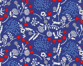HALF YARD - Echino 2019 - Sprout - Blue Colorway 97040 42D - Cotton Linen Sheeting - Animal, Floral, Fox, Cheetah, Geometric, Dot