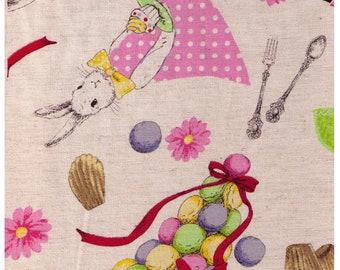 HALF YARD - Kobayashi - Bunny and Macarons on Natural KTS6081 - 85/15 Cotton/Linen Blend - Project by Cotton - Japanese Import
