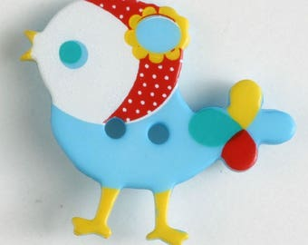 BIRD Button - Med Blue Colorway 25 mm - Made in Germany - Washable and Dry Cleanable 330878