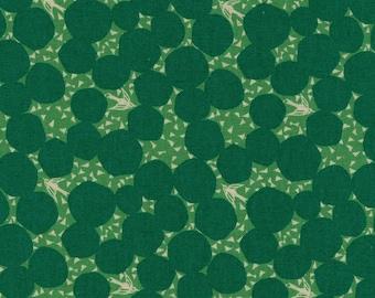 HALF YARD - Echino 2019 - Bubble - Green Colorway 97040 41D - Cotton Linen Sheeting - Bird, Sparrow, Geometric, Dot