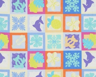 Sale HALF YARD Lecien - Island Style Kathy Mom Cheater Blocks 20107-70 - Blue/Purple/Yellow Floral - Gardenia, Hawaii - Japanese Import