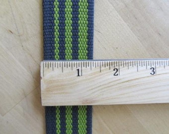 "WEBBING Granny Smith Green and Charcoal Stripes  - Approx 1.25"" wide - Japanese Imported"