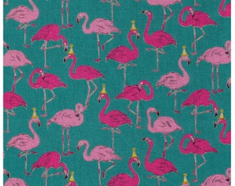 HALF YARD Cosmo - Flamingo Party on Teal Blue - Ap-75310-3C - 80/20 Cotton Linen Blend - Japanese Import