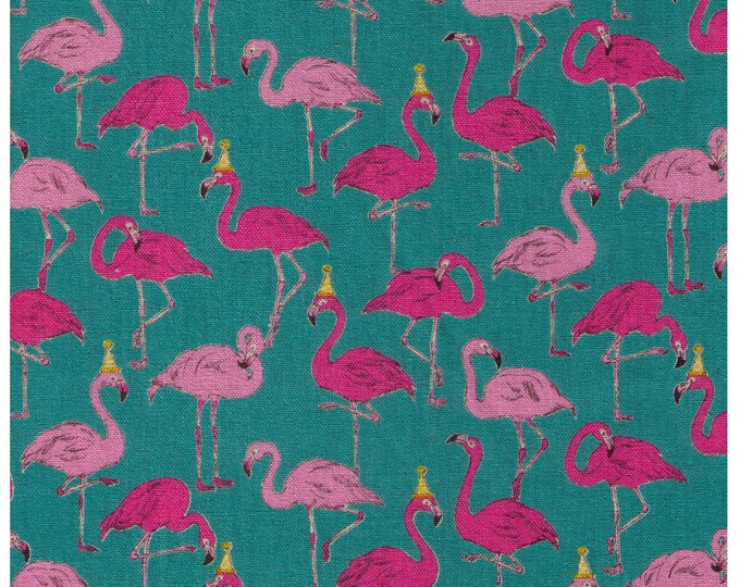Featured listing image: HALF YARD Cosmo - Flamingo Party on Teal Blue - Ap-75310-3C - 80/20 Cotton Linen Blend - Japanese Import