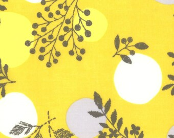 HALF YARD Kokka - Line Flower on Yellow - Flower and Dots - 100% Cotton Lawn 59100-2C - Japanese