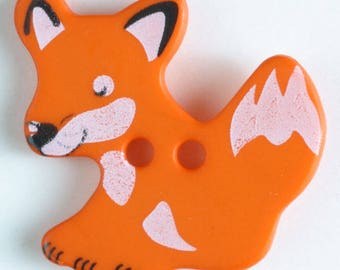 FOX Button - ORANGE Colorway 25 mm - Made in Germany - Washable and Dry Cleanable 330877
