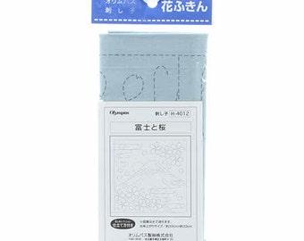 """OLYMPUS Sashiko sampler Mt.Fuji & Sakura on SAGE SC-4012 - 12"""" Pillow or Dish towel - Hand Quilting and Stitching Japanese"""