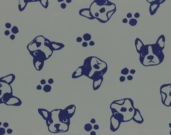 HALF YARD Lecien - French Bulldog and Paw Prints on PUTTY Stone background - Nylon Taffeta - Flowers - Japanese Import