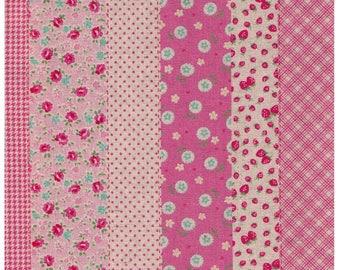 HALF YARD Yuwa - Strawberry Flower Cheater Stripes 446558-A Pink Colorway - Cotton Linen Fabric - Cherry Dots Roses Rows-Atsuko Matsuyama 30