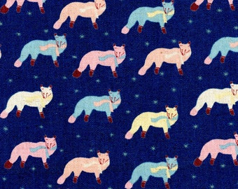 HALF YARD Kokka - Foxes with Scarves on BLUE -  Pink, Yellow, Blue Scarf Snow - 85 Cotton / 15 Linen Canvas - 46600-600D