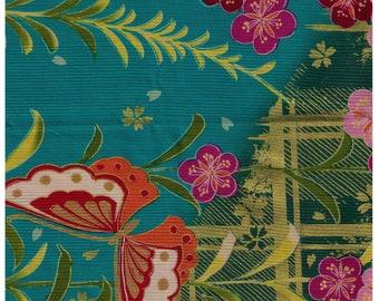 HALF YARD Yuwa - Traditional Japanese Print - Teal Blue Colorway Metallic Accents 829570-B - Flowers, Geometric Grid, Butterfly - Yukata