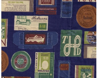 HALF YARD Yuwa - Travel Stamps on BLUE - Suzuko Koseki 826205-D - Japanese Import - Tickets and Luggage Tags,  Paris Bonjour France 1950s