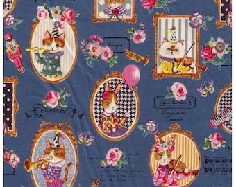 HALF YARD - Yuwa - Classical Music Kitties - Cats and Rabbits on Slate BLUE - Sobakasu-Kids - Grumpy, Party, Violin, Trumpet Quilting Cotton