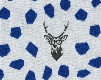 HALF YARD Kokka Echino - SAMBAR Jg96800-804C Blue and Grey  - Deer Stag with Rough Dots - Cotton Double Gauze