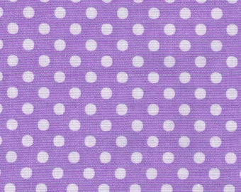 HALF YARD - Lecien - Color Basic - 4506-PU Purple with White Medium Dots - Japanese Import Fabric