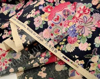 HALF YARD Yuwa -  Fan, Sakura, Chrysanthemum Flowers on Black - Cherry Blossom, Traditional Japanese Flowers, Geometric - Yukata 829317-A