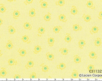 """End of Bolt - 29"""" Cut - Mini Yellow with Green Daisies on YELLOW Crosshatch 31132-50 - Spring 2015  Flower Sugar Lecien, Bouquet, Blue, Pink"""