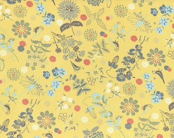 HALF YARD Lecien - Isso Ecco and Hearts - Wildflower Meadow and Bird on Yellow- Cotton Lawn - 40516-50 Pink Purple Green Yellow - Japanese
