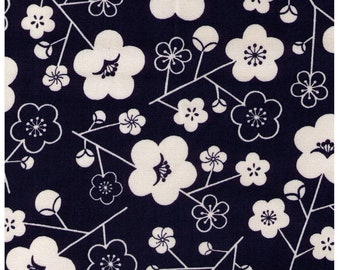 HALF YARD - Sakura on Navy - SK-4400-2B - Cream flowers on Indigo - Cotton Oxford - Traditional Geometric Cherry Blossom Japanese