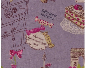 SHIP NOW - One Yard Precut - Yuwa - Sweets Rondeaux Linen Cotton Blend - Paris Map of Sweets on PURPLE - Macaron, Tea, Pastry, Eiffel Tower