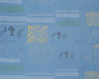HALF YARD Yuwa - Small Motifs on Blue - Yoshiko Jinzenji - Low Volume Print - Japanese Import Fabric JZ312677