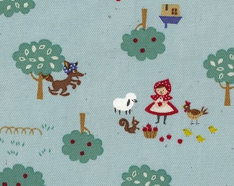 HALF YARD Kokka - Trefle Little Red Riding Hood on BLUE - Wolf, Toadstool Patchwork - Cotton Oxford - Japanese Imported