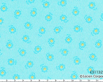 Half Yard - Mini Aqua with Yellow Daisies on AQUA Crosshatch 31132-70 - Spring 2015  Flower Sugar Lecien, Bouquet, Blue, Pink