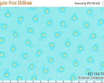 Sale Half Yard - Mini Aqua with Yellow Daisies on AQUA Crosshatch 31132-70 - Flower Sugar Lecien, Bouquet, Blue, Pink