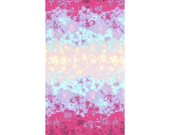 "End of Bolt - 22"" Cut - Lecien - Island Style Kathy Mom 20105-110 - Purple/Pink/Aqua/Yellow Floral w Iridescent sparkle  - Gardenia - Japan"
