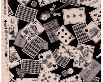 Half Yard - Alice in Wonderland Playing Cards on BLACK - Rabbit, Cat, Cake, Teapot, Cupcake, Watch, Hearts - Cosmo Textile Japanese