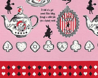 HALF YARD Lecien - Judies Cotton Collection 40537-20 - Alice in Wonderland Tea and Cookies PINK - White Rabbit, Queen of Hearts Bows