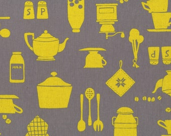 HALF YARD Lecien - Yellow Kitchen Utensils on Grey - Work Style Cotton Linen Collection - 85 Cotton 15 Linen Canvas Japanese Import