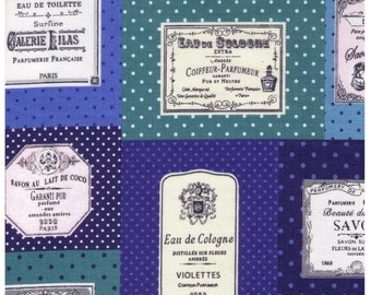 HALF YARD Yuwa - French Soap and Perfume Labels - Blue Colorway 816840-D - Live Life Collection Premium - Japanese Import Fabric