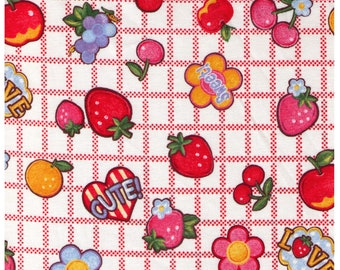 HALF YARD Yuwa - Cute Fruits and Flowers on Block Grid - RED Colorway- Atsuko Matsuyama 30s collection 116563 A - Japanese Import Fabric