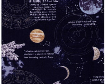 HALF YARD Kokka - Space Station on Navy - 94030-1A - Planets, Stars, Moons, Text, Atomic Electric, Satellite  - Japanese Import