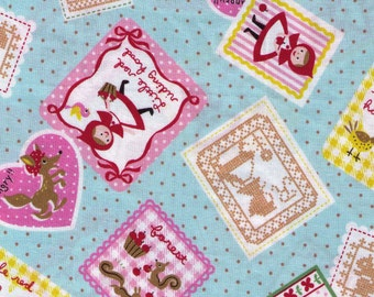HALF YARD Kokka Trefle Fabric - Little Red Riding Hood and Wolf  - Light Blue and Tan Polka Dots - Japanese Import Fabric