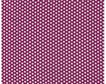 HALF YARD Yuwa - Mini Hexi Dots - White Hexagons on PURPLE - Suzuko Koseki - Japanese - Tiny Hexies Honeycomb Multi color