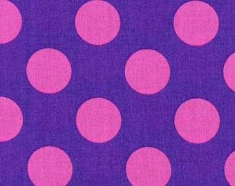 HALF YARD Kokka - Candy Party Extra Large Dots-1A Pink Extra Large Dots on PURPLE - Japanese Import Fabric