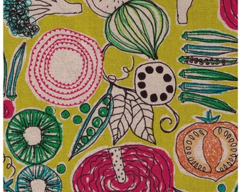HALF YARD Yuwa - Veggies and Fruit on Mustard 043  - Miyako Kawaguchi - Cotton Linen Canvas - Onions Tomato Peas Kiwi Green Beans Broccoli