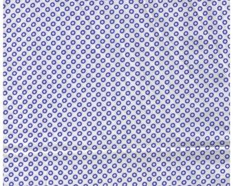 HALF YARD Yuwa - Mini Dots - Blue Donuts on White 826060-E - Suzuko Koseki - Japanese