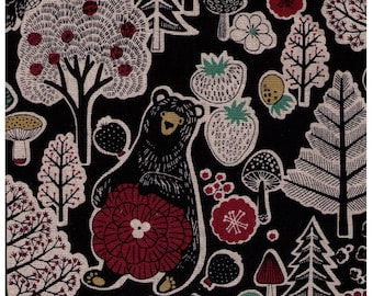 HALF YARD Cosmo - Forest Friends Strawberry Mix on BLACK AP81303 2E - Cotton Linen Oxford - Bear, Cat, Bird, Tree, Flower -Japanese Import