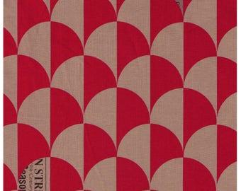 HALF YARD Yuwa - Scallop in Tan/Red - Suzuko Koseki 826271-B - Clamshell, Scale, Wave Pattern - Japanese Import Fabric