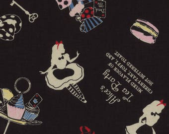 HALF YARD Lecien - Girls Story Sp 2017 - Alice's Tea Party on BLACK 40824-100 - Cotton/Linen Blend - Alice, Rabbit, Cat - Japanese Import