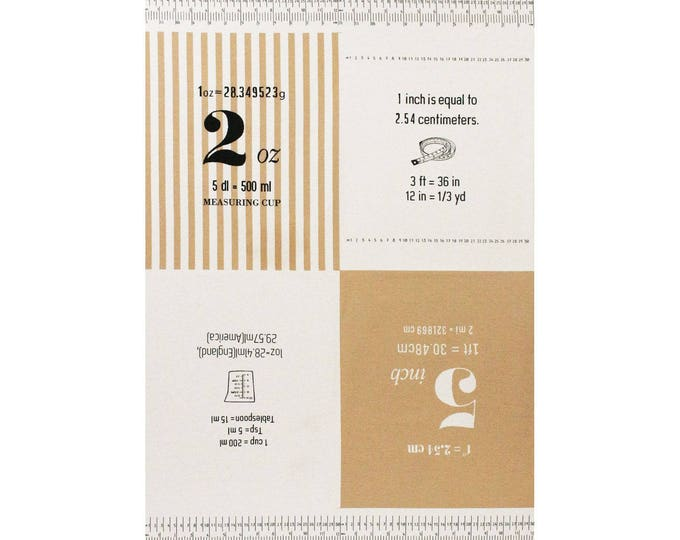 PANEL Lecien - Cotton Style 2017 - Measurements in YELLOW 40757-10 - Numbers, Text, Ruler, Metric - Canvas - Japanese Import